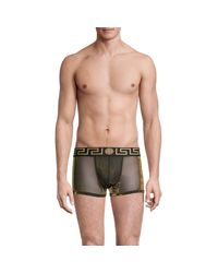 Versace Black Low-rise Metallic Mesh Trunks for men