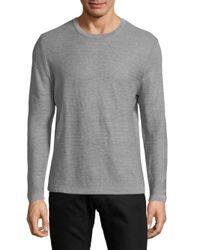 BOSS Gray Striped Linen Sweatshirt for men
