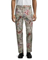 Valentino Gray Printed Cotton Pants for men