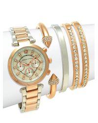 Adrienne Vittadini Metallic Two-tone Stainless Steel Bracelet Watch Set