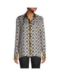 Versace Black Printed Silk Shirt
