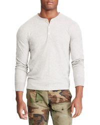 Ralph Lauren Gray Loft Duofold Cotton-blend Henley for men