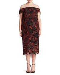 ABS By Allen Schwartz Multicolor Plus Off-the-shoulder Lace Dress