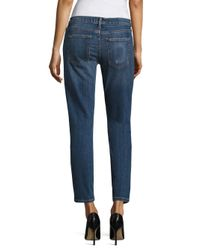 Current/Elliott Blue The Easy Stiletto Distressed Cropped Jeans
