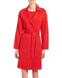 St. John - Red Milano Knit Belted Coat - Lyst