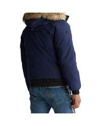 Ralph Lauren Blue Faux Fur-trim Bomber Jacket for men