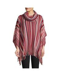 Missoni Red Cowl-neck Chevron Wool-blend Poncho