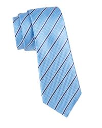 Canali Blue Stripe Silk Tie for men