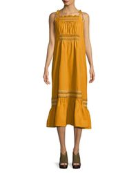 Free People Yellow Another Love Smocked Midi Dress