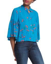 Plenty by Tracy Reese - Blue Cherry Printed Flounce Sleeve Shirt - Lyst