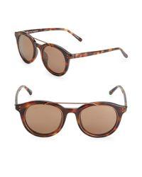 Linda Farrow Brown 51mm Round Sunglasses