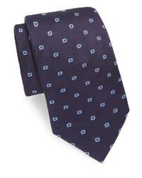 Brioni Blue Narrow Floral Silk Tie for men