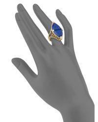 Judith Ripka - Blue Diamond, Lapis & 18k Yellow Gold Ring - Lyst