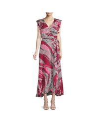 Ava & Aiden Pink Ruffled Midi Wrap Dress