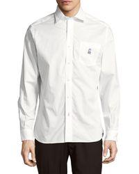 Psycho Bunny White Modern Fit Cotton Button-down Shirt for men