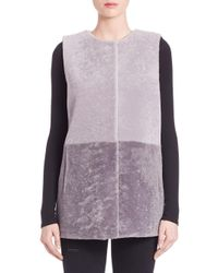 Pologeorgis | Gray Colorblock Shearling Fur Vest | Lyst