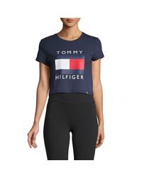 Tommy Hilfiger Blue Graphic Short-sleeve Cropped Tee