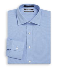 Saks Fifth Avenue | Blue Classic-fit Mini-houndstooth Dress Shirt for Men | Lyst