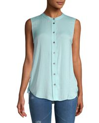 Vince Camuto Blue Side-tie Buttoned Top