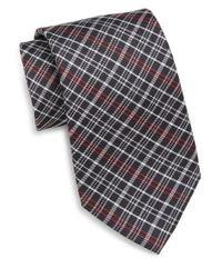 Saks Fifth Avenue - Black Plaid Silk Tie for Men - Lyst
