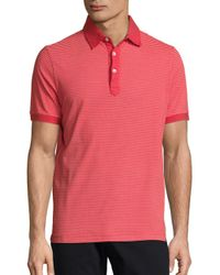 Saks Fifth Avenue Red Striped Cotton Polo for men