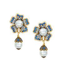 Heidi Daus - Blue Multicolored Crystal & Beaded Floral Drop Earrings - Lyst