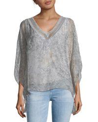 Le Marais Metallic Floral Lace-trimmed Silk Top