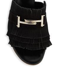 Tod's Black Fringe T-bar Leather Slides