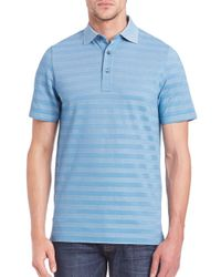 Saks Fifth Avenue - Blue Striped Cotton-blend Polo for Men - Lyst