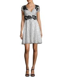 Aidan By Aidan Mattox - White Short Sleeve Lace Cocktail Dress - Lyst