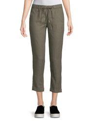 Saks Fifth Avenue Green Cropped Linen Pants