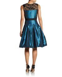 Carmen Marc Valvo Blue Taffeta & Lace Cocktail Dress