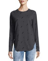 Chrldr Gray Thunderbolt Cotton Sweatshirt