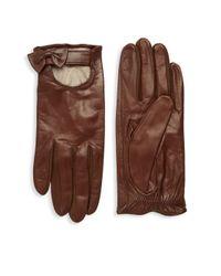 Portolano Brown Bow Leather Gloves