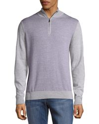 Saks Fifth Avenue Gray Quarter Zip Wool Pullover for men