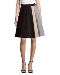 Prada Black Pleated Silk Colorblock Skirt