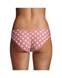 Pilyq Pink Polka Dot Basic Ruched Bikini Bottom