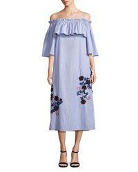 Suno - Blue Embroidered Off-shoulder Pinstripe Dress - Lyst