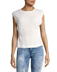 Free People White May Side-shirred Tank