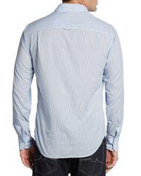 Vince - Blue Striped Button-down Cotton Shirt for Men - Lyst
