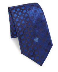 Versace Blue Letter Logo Silk Tie for men