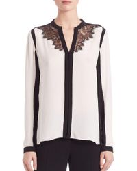 Elie Tahari White Denise Colorblock Silk Blouse