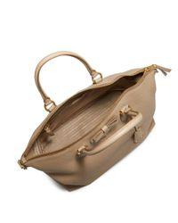 Prada Natural Bow Leather Logo Plaque Satchel