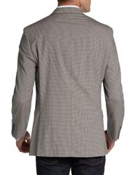 Calvin Klein Brown Slim-fit Mini Checked Wool Sportcoat for men