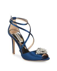 Badgley Mischka Blue Tatum Satin Stiletto Heel Sandals