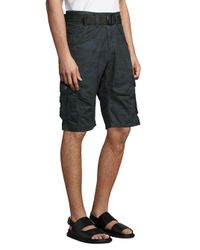 Xray Jeans Blue Camouflage Cotton Cargo Shorts for men