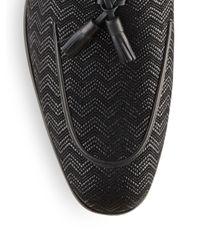 Mezlan Black Chevron Tassel Loafers for men