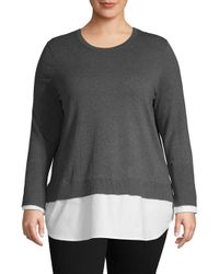 Vince Camuto Gray Plus Classic Long-sleeve Top