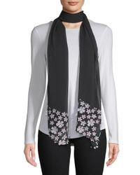 Karl Lagerfeld Black Floral Mesh Scarf