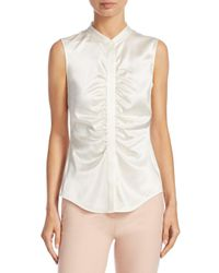 Theory White Ruched Silk Top